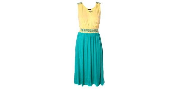 Dámské tyrkysovo-žluté delší šaty Daphnea
