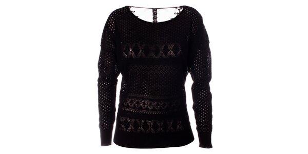 Dámský černý pletený svetr s dlouhým rukávem Daphnea