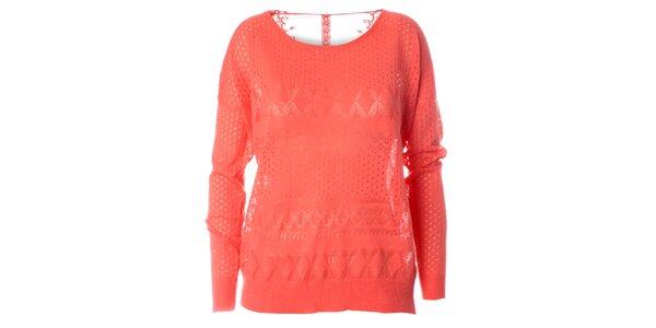 Dámský korálově červený pletený svetr s dlouhým rukávem Daphnea