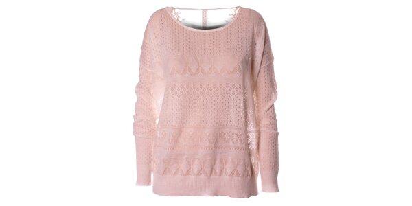Dámský bílý pletený svetr s dlouhým rukávem Daphnea
