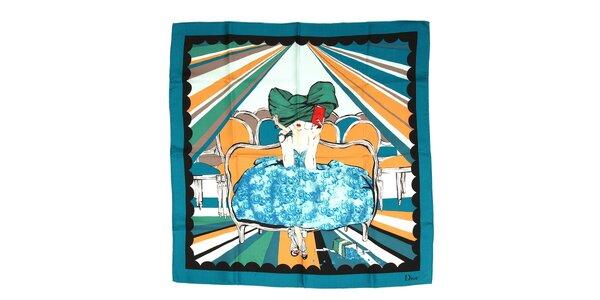 Luxusní hedvábný šátek Dior s motivem dámy v modrozelených barvách