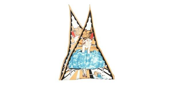 Luxusní hedvábný šátek Dior s motivem ženy se světle hnědým lemováním