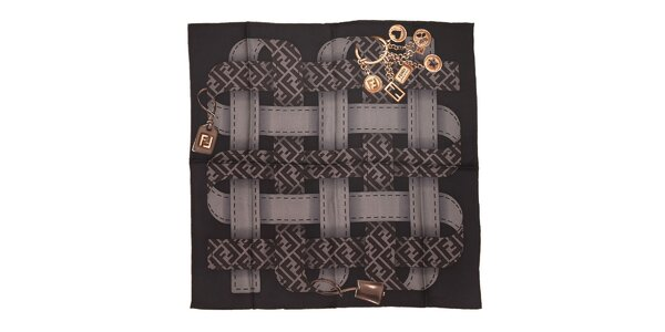 Černý čtvercový šátek Fendi s motivem opasků