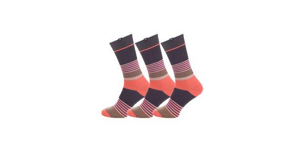 Dámské šedo-oranžové proužkované ponožky Minga Berlin - 3 páry