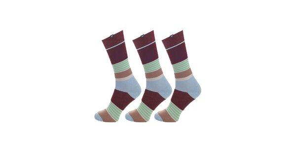 Dámské hnědo-modro-zelené proužkované ponožky Minga Berlin - 3 páry