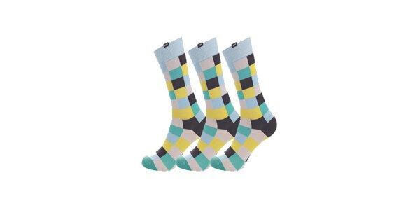 Dámské modro-žluté kostkované ponožky Minga Berlin - 3 páry
