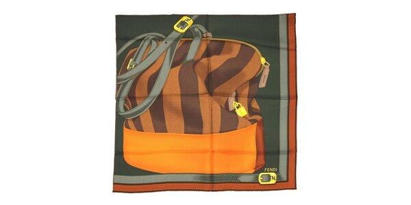 Tmavě zelený čtvercový šátek Fendi s motivem kabelky