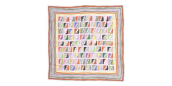 Menší čtvercový šátek Fendi v barvě lila