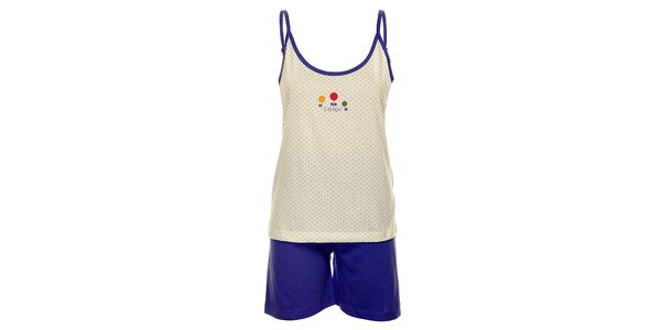 Dámské modro-bílé pyžamo Cocodream - šortky a tílko
