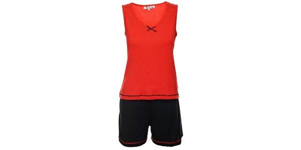 Dámské červeno-černé pyžamo Isma - šortky a tílko