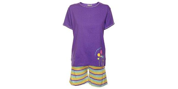 Dámské fialové pyžamo Cocodream - šortky a tričko