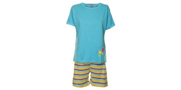 Dámské světle modré pyžamo Cocodream - kraťasy a tričko