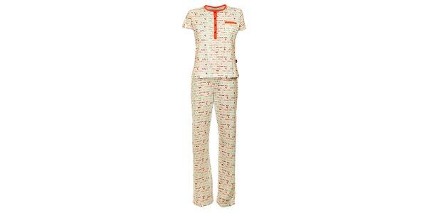 Dámské bílé pyžamo Marie Claire s potiskem - kalhoty a tričko