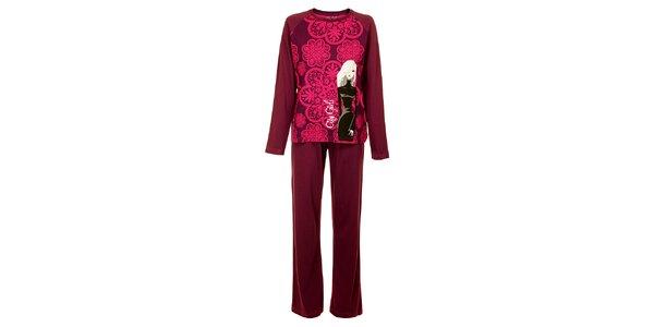 Dámské vínovo-růžové pyžamo Marie Claire s potiskem - kalhoty a tričko