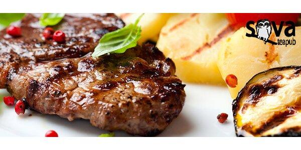 2 steaky z mladého býčka s přílohou podle chuti