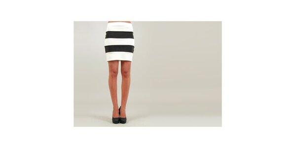 Dámská bílo-černá pouzdrová sukně Ginger Ale se širokými pruhy