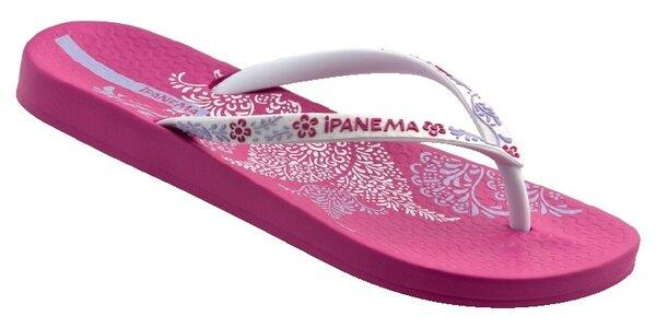Růžovo-bílé dámské žabky Ipanema s květovanými pásky