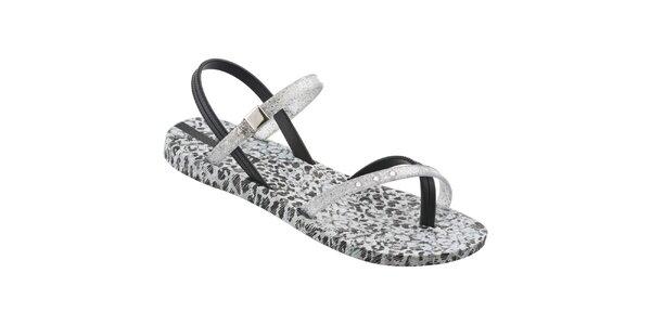 Dámské černo-stříbrné sandály Ipanema s leopardím vzorem