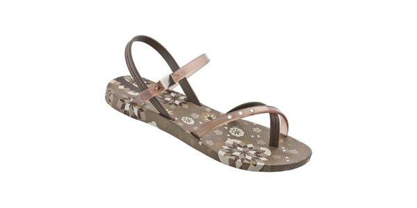 Dámské hnědé sandály Ipanema s potiskem