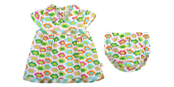 Zeleno-modré kojenecké šatičky s kytičkami Tuc Tuc a kalhotkami