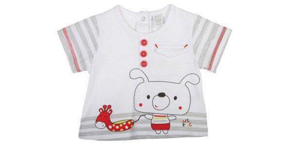 Bílé kojenecké tričko Tuc Tuc s pejskem a žirafou