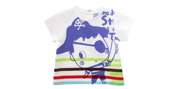 Bílé kojenecké tričko Tuc Tuc s pirátem a barevnými proužky