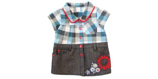 Dětské kostkované šaty s džínovou spodní částí Tuc Tuc