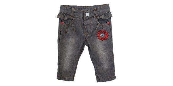 Dětské šedé džíny s volánkem a květinovou výšivkou Tuc Tuc