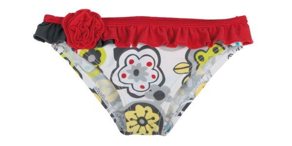 Dětské červené plavkové kalhotky s květinami Tuc Tuc