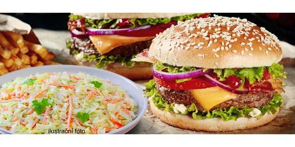 2 burgery z českého chovu s hranolky a salátem