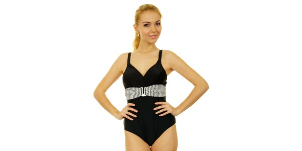 Dámské černé jednodílné plavky Anizzia s bílým páskem