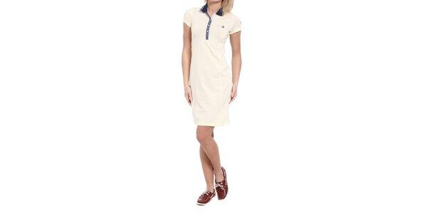 Dámské krémové šaty s modrým límečkem Cooperativa