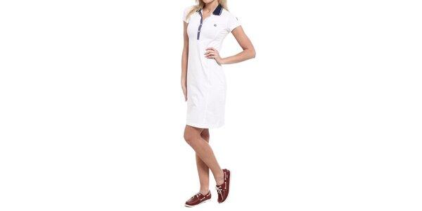 Dámské bílé šaty s modrým límečkem Cooperativa