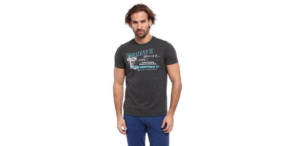 Pánské šedé triko s modro-bílým potiskem Cooperativa