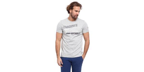 Pánské světle šedé triko s černo-bílým potiskem Cooperativa