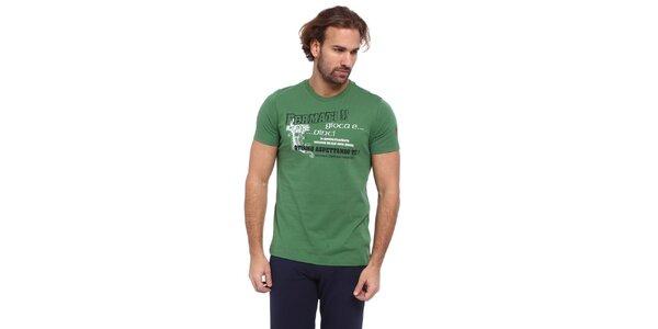 Pánské zelené triko s černo-bílým potiskem Cooperativa