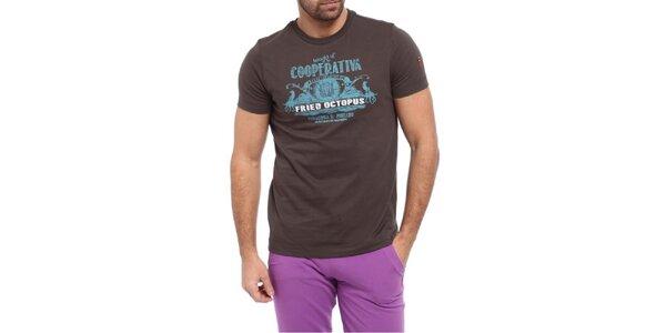 Pánské hnědé triko s krátkým rukávem a potiskem Cooperativa