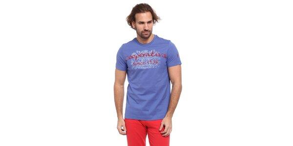 Pánské nebesky modré triko s červeno-bílým potiskem Cooperativa