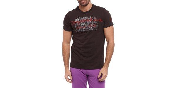 Pánské hnědé triko s červeno-bílým potiskem Cooperativa