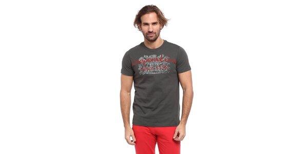 Pánské šedé triko s červeno-bílým potiskem Cooperativa