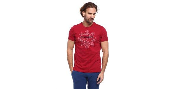 Pánské červené triko s potiskem kotvy Cooperativa
