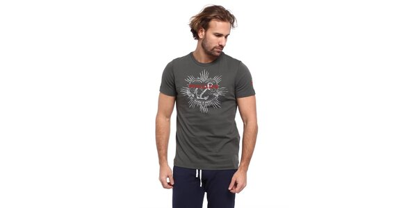 Pánské šedé triko s potiskem kotvy Cooperativa