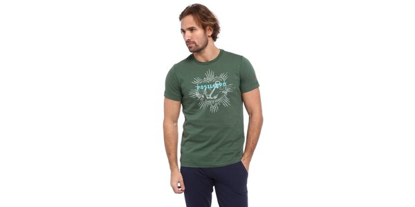 Pánské zelené triko s potiskem kotvy Cooperativa