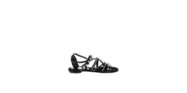 Dámské černé sandály Miss Sixty s řetízky a kovovými cvoky