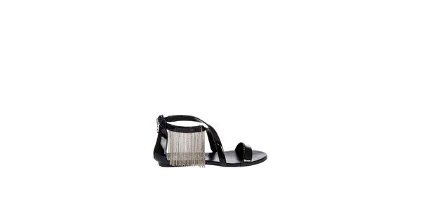 Dámské černé lakované sandály Miss Sixty se stříbrnými řetízky