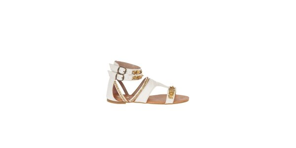 Dámské bílé sandály Killah se zlatou flitrovou výšivkou