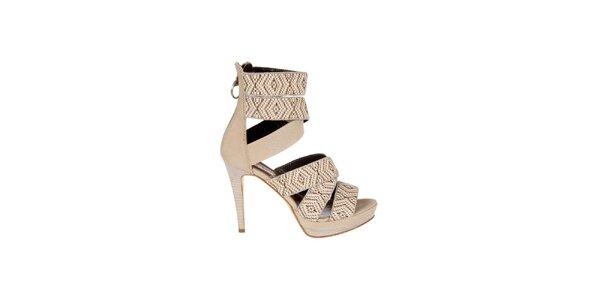 Dámské béžové sandály Miss Sixty s aztéckým vzorem