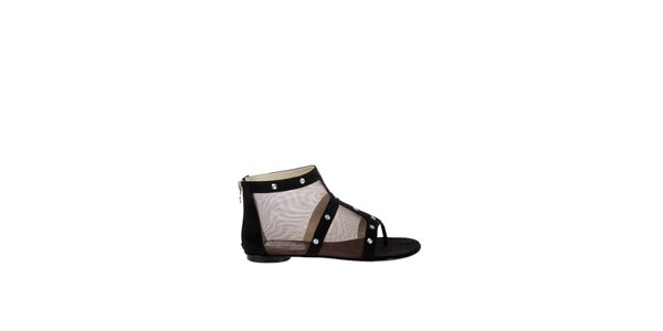 Dámské černé síťované sandály Miss Sixty s kovovými cvoky
