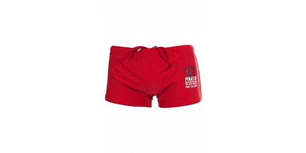 Pánské sytě červené nohavičkové plavky David
