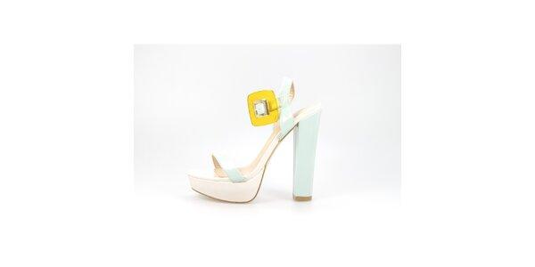 Dámské krémovo-mintové lakované sandály La Strada se žlutou sponou